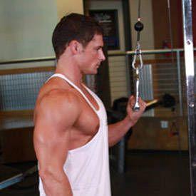 Ejercicio de Tríceps: Extension de cable a una mano
